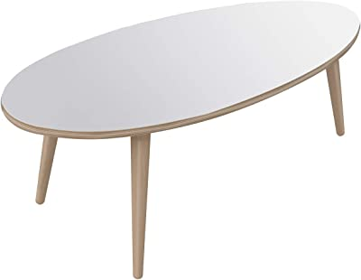 Marque Amazon -Movian - Table basse ovale Adour Modern, 55 x 110 x 39, Blanc