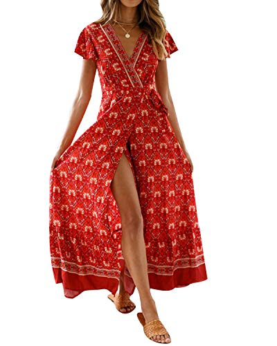 MINTLIMIT Kleider Damen Boho Sommerkleid Blumen V-Ausschnitt Kurzarm Wrap Split Maxikleid Vintage Standkleid Weinrot L