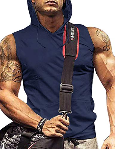 poriff Sleeveless Gym Hoodie Men Muscle Tank Lightweight Hoodie Tshirt Cotton Nb XXL Blue