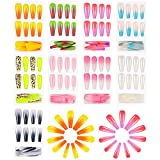 216 Pieces Jumbo Extra Long XXL French Natural Ballerina False Press on Nails Coffin Fake Nails Gradient Color Full Cover Finished Manicure