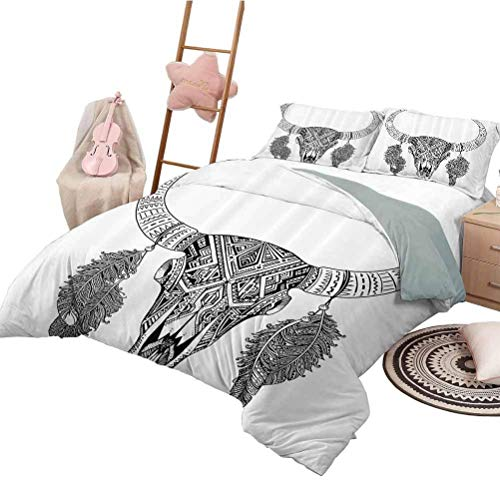 Juego de Cama Tribal Decor Chic Home Juego de Funda nórdica Diseño Dibujado a Mano Patrón de Calavera de Toro con Plumas Imprimir Negro Blanco King Size