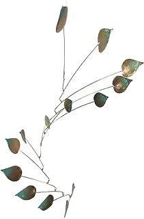 Modern Artisans Copper Aspen Leaves Spinning Mobile Indoor Outdoor, Large 14-Leaf Version, American Made