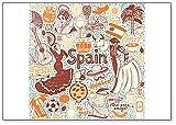 Juego de símbolos de España en estilo de ilustración artesanal ilustración clásica imán para nevera