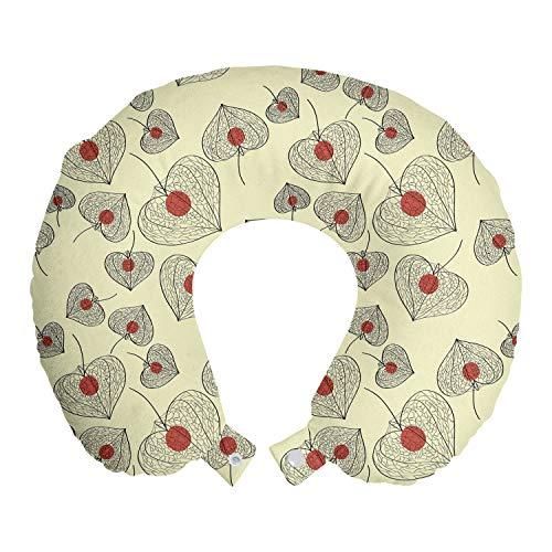 ABAKUHAUS Obst Reisekissen Nackenstütze, Dry Physalis Shapes, Schaumstoff Reiseartikel für Flugzeug und Auto, 30x30 cm, Paprika Dunkelgrau und Creme