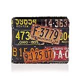 SHAGWEAR ® Portafoglio Uomo Porta Carte di Credito con Portamonete Borsellino Portafogli Banconote : (targa vintage/Vintage License Plate)