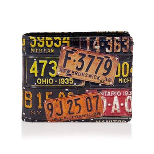 Shagwear ® Geldbörse Portemonnaie Herren Geldbeutel Herren Portmonee Designs: (Retro Kfz-Kennzeichen/Vintage License Plate)