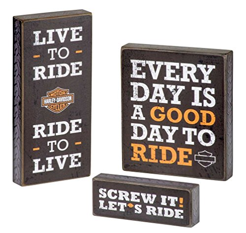 Harley-Davidson Wooden Harley Motto Pub Signs, Set of Three, Black HDL-15316