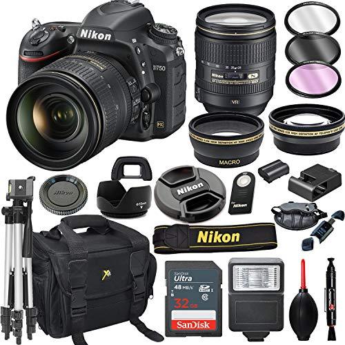 Nikon D750 DSLR Camera with 24-120mm VR Lens + 32GB Card, Tripod, Flash, and More (20pc Bundle)
