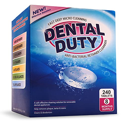 240 Retainer and Denture Cleaning Tablets (8 Months Supply) - Cleaner Removes Plaque, Stains from Dentures, Retainers, Night Guards, Mouth Guard, and Removable Dental Appliances. Made In USA