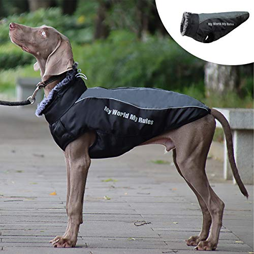 Dog Winter Jackets, Winter Coat for Dogs, Dog Winter Coat Waterproof Jacket, Cold Weather Dog Coats with Harness Furry Collar with Zipper Reflective Dog Vest for Medium Large Dogs