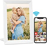 AEEZO Marcos Fotos Digitales WiFi de 9 Pulgadas, Visualización táctil IPS HD, Función de Rotación Automática, Fácil Configuración para Compartir Fotos y Vídeos (Blanco)