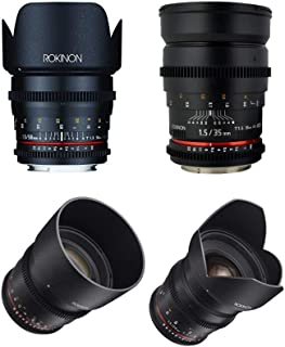 ROKINON CINE DS T1.5 Cinema Lens Kit - 50mm + 35mm + 85mm + 24mm for Canon EF
