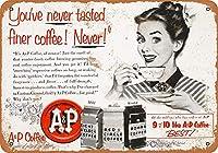 1953 A&Pコーヒー。インチティンサインヴィンテージアイアンペインティングメタルプレートノベルティデコレーションクラブカフェバー。