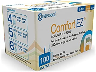 Clever Choice Comfort EZTM Insulin Pen Needles 32G 6mm (1/4 Inch) - 100 Count