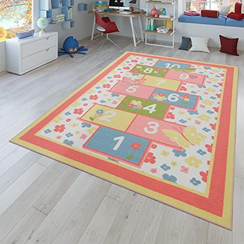TT Home Alfombra Infantil, Alfombra De Juegos Habitación Infantil Flores Rayuela Rosa, Größe:80x150 cm