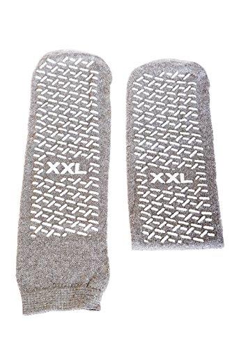 XX-Large Slip-Stop Single Tread Slipper Socks - Grey (3 Pairs)