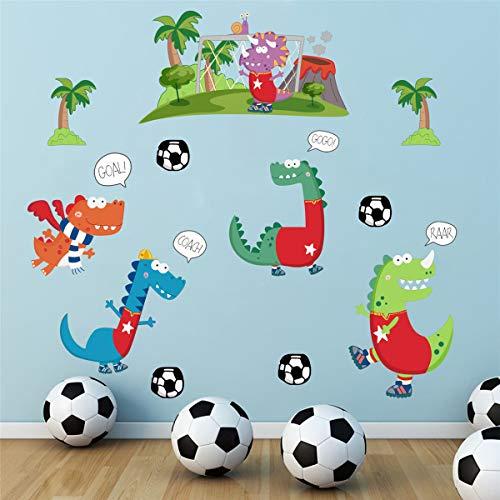 ufengke Pegatinas de Pared Dinosaurio Vinilos Adhesivos Pared Juegos de Futbol Decorativos para Dormitorio Infantiles Habitación Bebés Niños