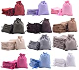Sansam 48pcs 7.0x9.0cm/2.8''x3.6'' 12 Colors Mixed Lining Burlap Small Gift Bags Hemp/Hessian Bags, Jewelry Pouches, Wedding Favors, Jewelry Packing, Sacks