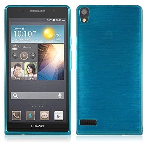 Cadorabo Hülle für Huawei P6 - Hülle in TÜRKIS – Handyhülle aus TPU Silikon in gebürsteter Edelstahloptik (Brushed) Silikonhülle Schutzhülle Soft Back Cover Case Bumper