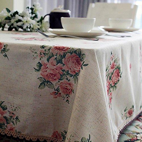 Nappe de DéCoration en Lin Floral Vintage Pour Table de Salle à Manger DéCoration IntéRieure , 140*225cm