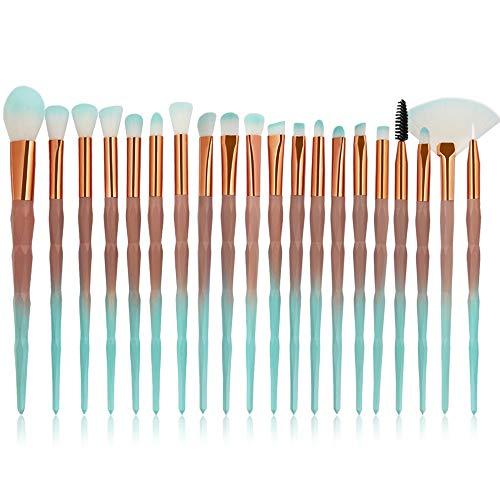 20 Morceaux Pinceaux de maquillage cosmétiques fixés style de diamant, base de poudre de poudre de fard à paupières poudre de cache-cernes en nylon mélangeant des kits de pinceau de beauté (Café vert)
