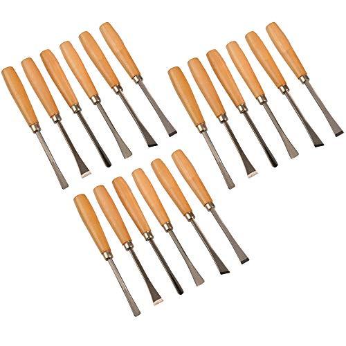 18 teiliges Set Schnitzwerkzeug Stechbeitel Bildhauerbeitel Drechselbeitel Stemmeisen Holzbeitel