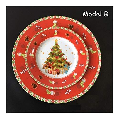 LANGPIAOEZU Diseño Conveniente 2pcs Navidad/Set Pintado a Mano de cerámica de 8 Pulgadas Placa Comestible Planos de Porcelana de Dibujos Animados del Plato Principal Deco árbol de Navidad El Limpio