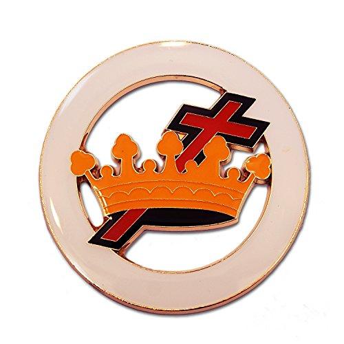 Knights Templar Cross & Crown Round Masonic Auto Emblem - [White & Red][3'' Diameter]