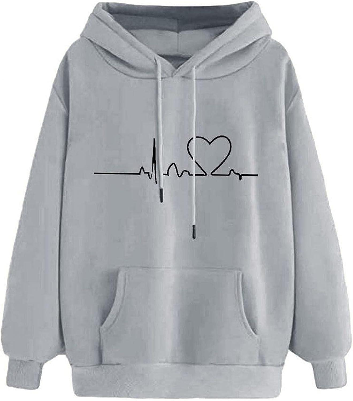 Womens Halloween Heart Hoodie Drawstring Long Sleeve Sweatshirt Hooded Sweatshirt Jumper Pullover
