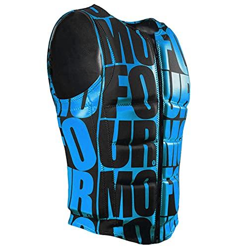 LJFLI Chalecos Salvavidas para Adultos Chaleco de Surf Profesional Letras de Chaleco de lancha Impresión de Moda Chaleco Protector de flotabilidad súper elástico,Blue,M