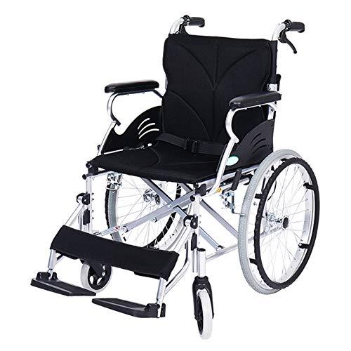 Luxus Rollstühle, Faltbar Selbstfahrend Aluminium Rollstühle Klappbare Fußstütze und Rückenlehne und Doppelbremsanlage Wabenkissen Sitzbreite 46cm,Schwarz