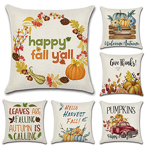 HuifengS Fundas de cojín cuadradas de Lino Decorativas, Calabaza de otoño, para sofás o Camas Juego de 6 Fundas de cojín de 45 x 45 cm