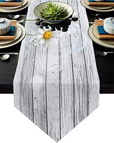 MODORSAN Camino de mesa de comedor, diseño de margaritas blancas en el tablero de madera, para cenas, eventos, decoración, 33 x 177 cm