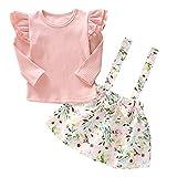 greatmtx 2 Stück/Satz Kinder Kleinkind Mädchen Rüschen Langarm Hemd + Blumen Hosenträger Rock Outfits Kleidung Set für 1-6 Jahre