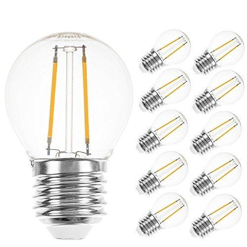 10 x LED Filament Tropfen Leuchtmittel 2W = 25W E27 klar 250lm Glühfaden extra warmweiß 2200K (10 Stück)
