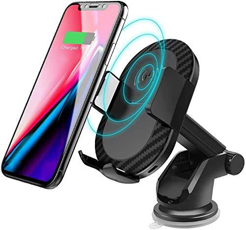 LY88 snellader houder voor draadloze Qi-auto met houder voor mobiele telefoons, USB-oplader, voor iPhone XS Max XR X 8 Plus, Samsung S9 S8 Note 9 8