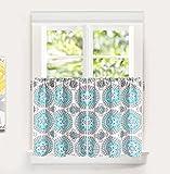 DriftAway Bella Medallion Pattern Kitchen Tier Rod Pocket Window Curtain Set of 2 Each Size 30 Inch by 36 Inch Plus 1 Inch Header Aqua and Gray