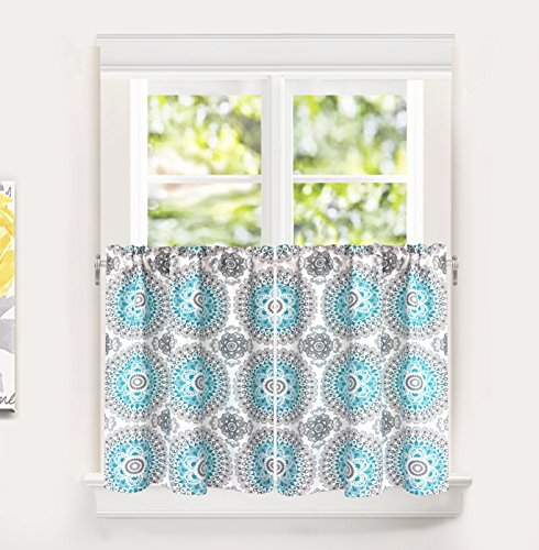 DriftAway Bella Medallion Pattern Kitchen Tier Rod Pocket Window Curtain Set of 2 Each Size 30 Inch by 36 Inch Plus 1 Inch Header Aqua and Gray