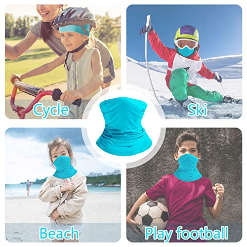 Linlook Bandana for Kids Neck Gaiter Washable Multifunction Headwear Elastic Face Scarf Cooling Headband Snood with Dust Sun Protection for Outdoor Sports 2PCS Blue+Green