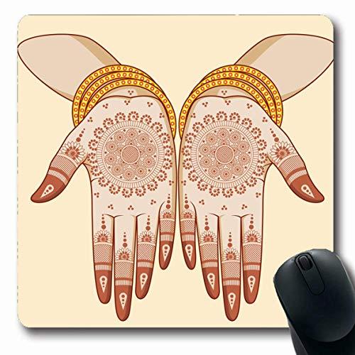 Mousepad Oblong Bunte Feier Indische Braut Mehandi Mädchen Hand Henna Armreifen Muster Ehe Make-up-Zeremonie Rutschfeste Gummimaus Pad Büro Computer Laptop Spielmatte