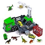 jerryvon Dinosaurios Juguetes Camión de Dinosaurio con 7 Animales de Figuras Dinosaurios 3 Coches de Juguetes Jurassic World Juegos Educativos Regalos para Niños Niño Niña 3 4 5 Años