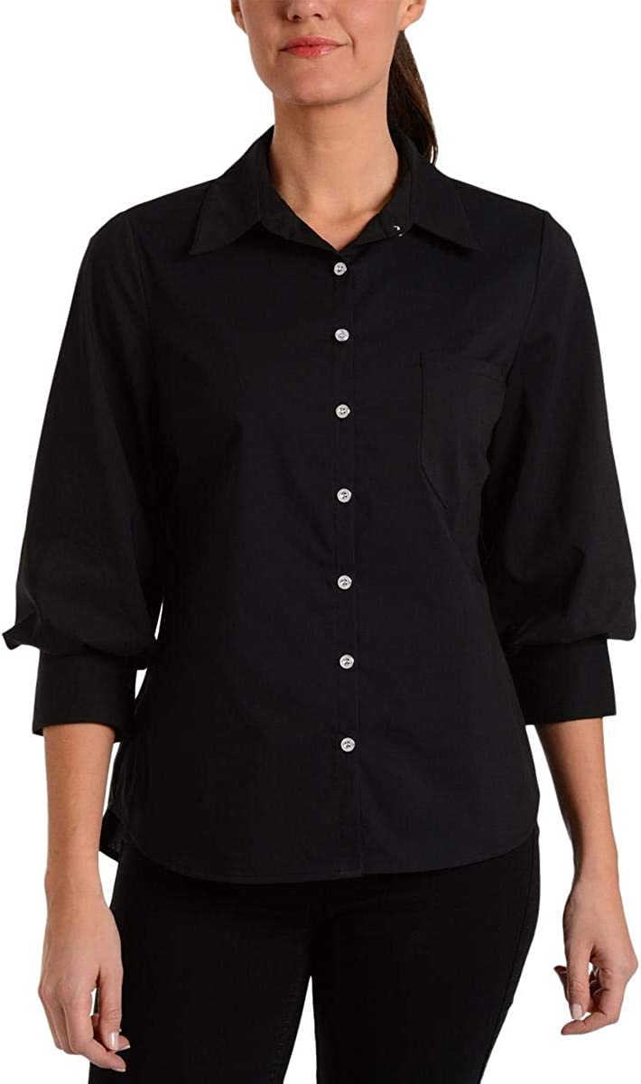 NY Collection Womens Blouson Button-Down Blouse Black S