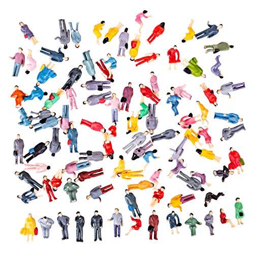 Polai 100 Pezzi Figure Scala 1:87 Personaggi Plastico Ferroviario in Miniatura