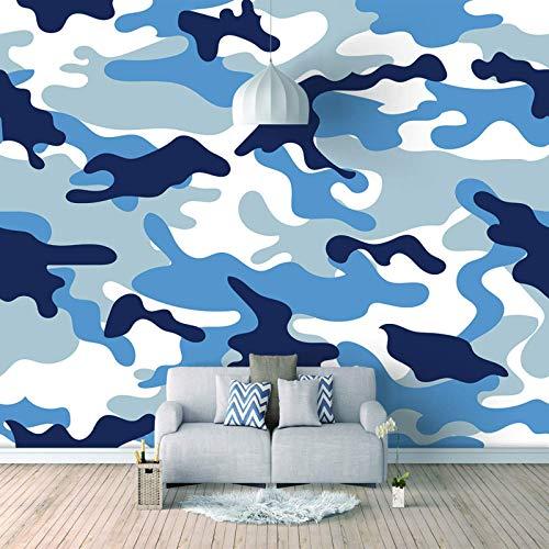HDEOFR Pared Papel Tapiz 3D Papel Pintado Autoadhesivo Fotomurales Camuflaje Azul Creativo Dormitorio Salon Pegatinas De Pared Tejido No Tejido Decoración De Pared Murales 250X175cm
