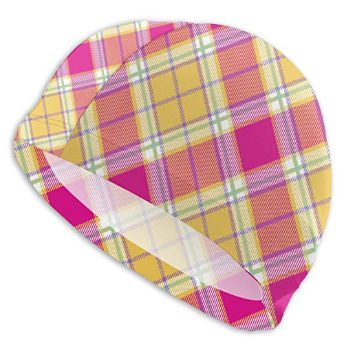 zhkx Plaid Indian Madras Diagonal Fabric Texture 3D Gorras...