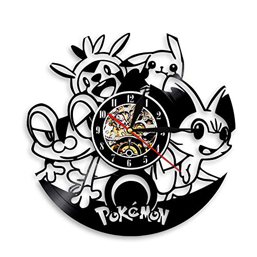 LittleNUM Disco de Vinilo de Pared Reloj de Pared Creativo decoración Reloj Local Reloj de Pared silencioso para los fanáticos de Pokémon