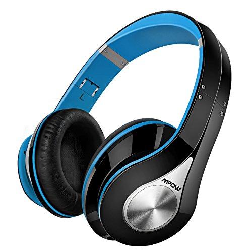 Mpow 059 Auriculares Diadema Bluetooth con Micrófono CVC 6.0, 25 hrs de Duración, Sonido Estéreo, Auriculares Diadema Inlámbricoa para TV, Cascos Bluetooth Diadema Plegable para Skype/PC/Móvil, Azul