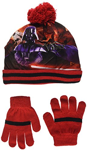 Star Wars Jungen Darth Vader Hut und Handschuh, Set, Rot (Red 18-1663TC), 54