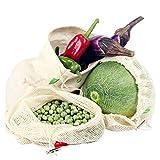 Winload Sac Réutilisable Legumes, 10 Sacs Réutilisable pour Fruits et Légumes, Sac Reutilisable en Coton avec Serrage, Sacs en Tissu Bio avec Étiquette de Poids de Tare pour Shopping, Pain et Jouets