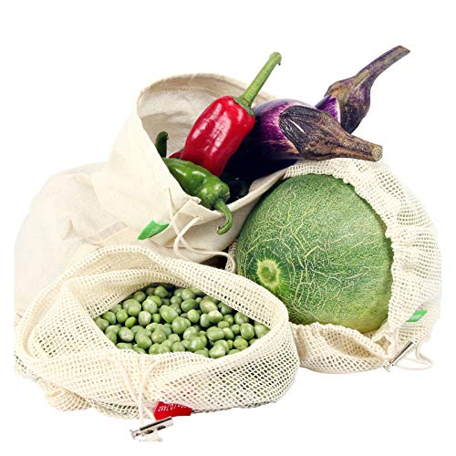 Winload Bolsas de Vegetales Reutilizables, 10 Piezas Olsas de Frutas y Vegetales de Algodón, Bolsas Ecologicas para la Compra Verduras, Bolsas de Comida con Tara Tag, Bolsas de Malla Transpirables